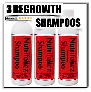 3 Nutrifolica Hair Growth Shampoo Scalp Hair Loss Alopecia Bald Spot