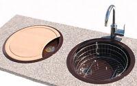 Rieber Rund Spüle E39 Brett Korb Spülbecken Küchenspüle Einbauspüle mocca Neu OV