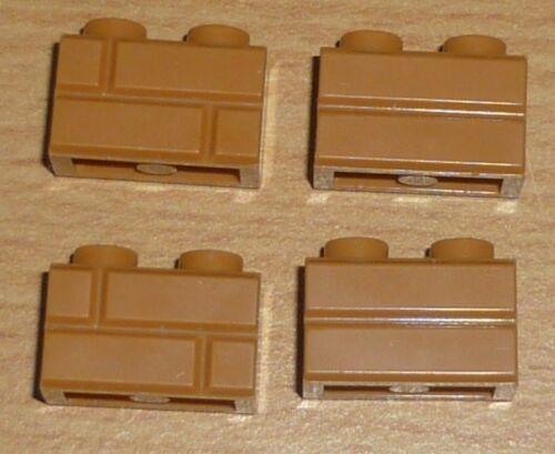 Lego 4 Steine 1 x 2 beidseitiges Muster in dunkel beige tan