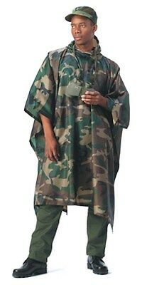 Army ROTHCO Military Woodland Camo Rip-Stop Poncho ONE SIZE FITS ALL