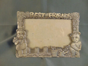 Picture-frame-BEST-FRIENDS-metal-teddy-bears-4-1-4-034-x-5-3-4-034-picture-size-4-1-2-034
