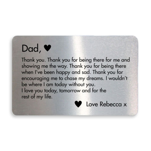 Thank You Gift For Dad Birthday Christmas PERSONALISED Wallet Insert Gift