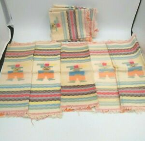 11 Vintage Cloth Napkins Hand Towels Mexican Themed Textured Multicolor