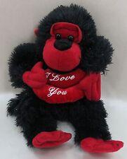"""13"""" Valentine Gorilla Black Plush Stuffed Animal KellyToy New  3+ I Love You"""