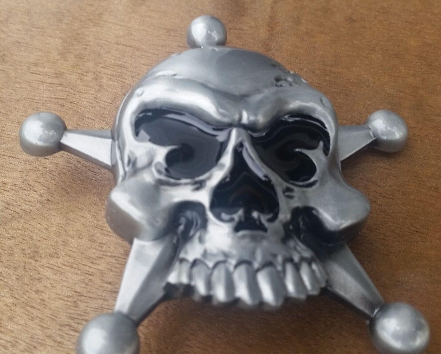♈ SKULL STAR SPADE NOSE ♈ Antique Silver Color Poker Harley Awesome Belt Buckle