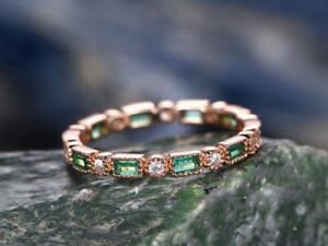 14K-Rose-Gold-Over-1-6Ct-Green-Emerald-amp-Diamond-Full-Eternity-Wedding-Band-Ring