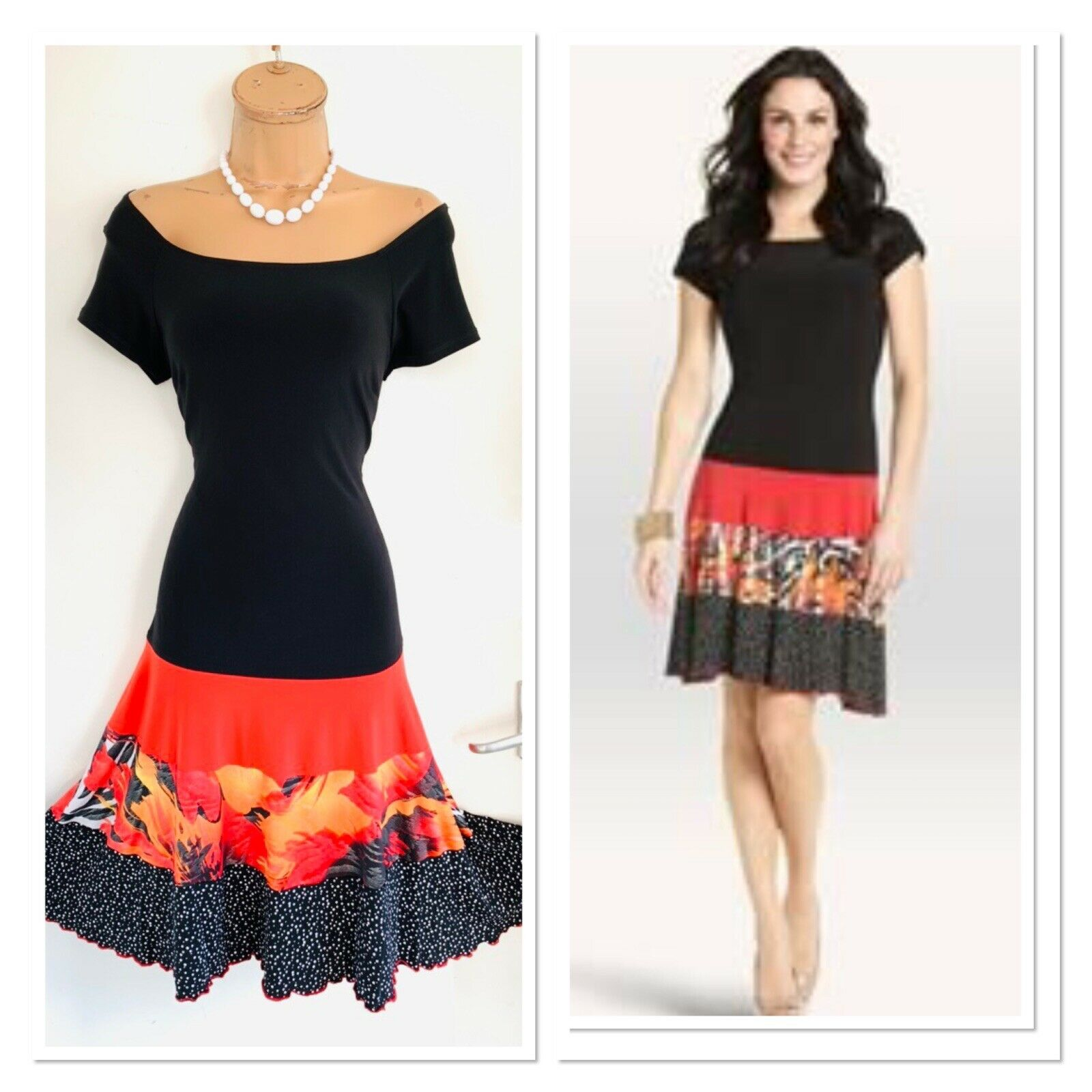 Beautiful FRANK LYMAN schwarz & Multi Fit & Flare Jersey Dress Größe 8-10