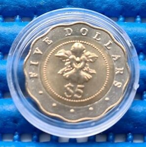 1994 Singapore $5 Scalloped Shaped Bimetallic Vanda Miss Joaquim Flower Coin