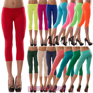 Raisonnable Pantacollant Leggings Corti Donna Colorati Pinocchietto Jersey Capri Cc-144