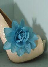2 Blue Glitter Flower Clips for Shoes