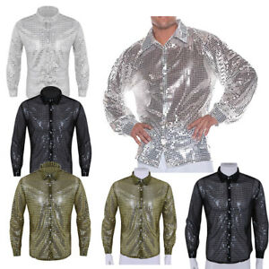 Men-Glitter-Sequins-See-Through-Mesh-Crop-Tops-T-Shirt-Button-Tank-Vest-Clubwear