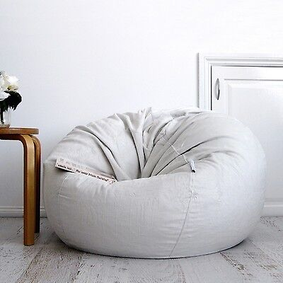 FUR BEANBAG Cover Soft Silver Grey Velvet Cloud Chair Bean Bag Reading Relaxing