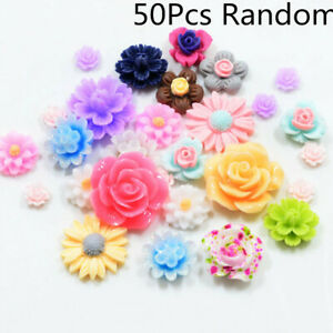 50X-DIY-Resin-Beads-Rose-Flower-Flat-Back-Embellishment-Cabochons-Decor-Craft