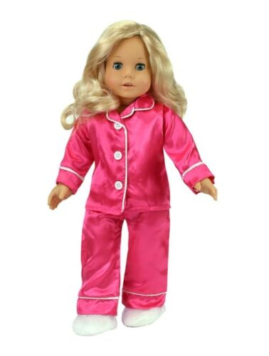 "Hot Pink Satin PJs with Slippers made for 18/"" American Girl Doll Clothes"
