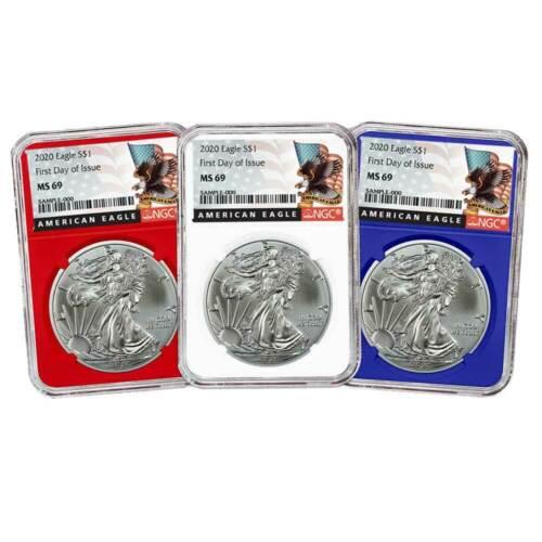 2020 $1 American Silver Eagle 3pc Set NGC MS69 FDI Black Label Red White Blue