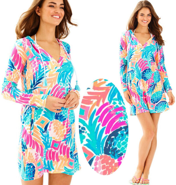 462135ba9e Lilly Pulitzer Rylie UPF 50+ Goombay Smashed Pineapple Hooded Cover Up Dress