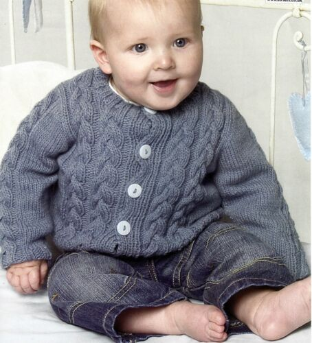BABY CHILDS 16// 24 INCH  ROUND /& V NECK CABLE CARDIGANS KNITTING PATTERN 1098