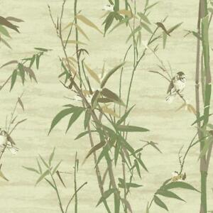 Wallpaper-Designer-Bamboo-with-Cute-Birds-Beige-Green-Cream-Taupe