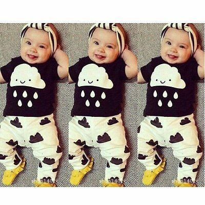 2pcs Baby Boy Girls Newborn Infant T-shirt Tops+Pants Overall Outfit Clothes Set