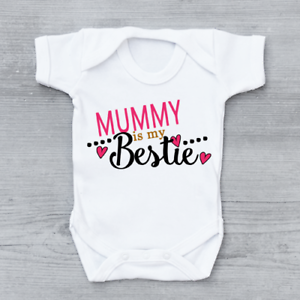 Mummy Is My Bestie Cute Funny Girls Baby Grow Bodysuit