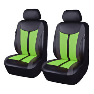 Universal-Car-Seat-Covers-2-Front-Protectors-Mesh-PU-Leather-Breathable-Green