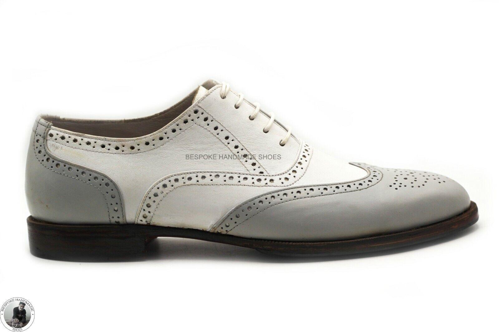 Handgemachte Herren echte weiße und graue Leder Schnür Wingtip Brogue Oxford Sch