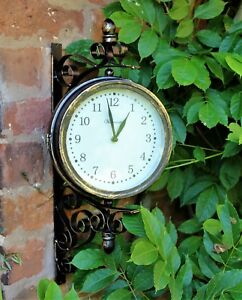 Outdoor-Garden-wall-Station-Clock-amp-Temperature-with-Bracket-swivels-45-cm