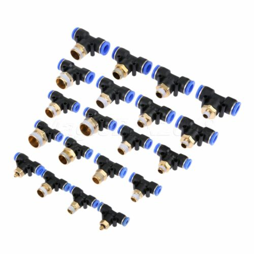 2PCS Pneumatic Tee Union Connector Tube One Touch Push In Air Fitting 4-12mm NEW