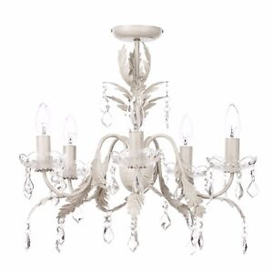 Five light chandelier cream gold floral decorative home lighting image is loading five light chandelier cream amp gold floral decorative aloadofball Image collections