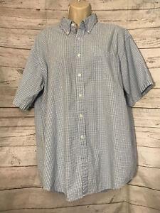 Mens-LL-Bean-Blue-Check-Short-Sleeve-Button-Front-Cotton-Shirt-Size-Large-Reg