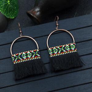 Bohemian-Boho-Round-Hollow-Black-Tassel-Drop-Hook-Dangle-Ethnic-Earrings-Women
