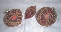 Raz Imports Dark Red & Gold Antique Beaded Blown Glass Ornaments-3 Shapes