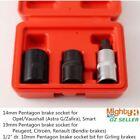 """3Pcs 1/2"""" Dr. Cr-V Girling Pentagon Brake 14,19mm Five Star 5PT Socket & Bit Set"""