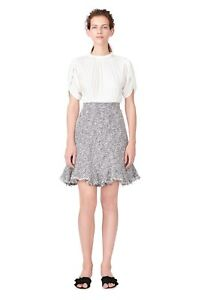 fef8343b2aa643 NEW Rebecca Taylor Petal Sleeve Silk   Tweed Dress in Ivory Combo ...