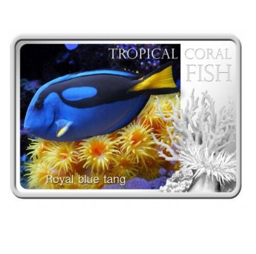 Royal Blue Tang 28,28g  Silver Coin Niue 2013  $2 Tropical Coral Fish