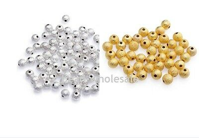 Lots 80/100Pcs Gold/Silver Plated Round Copper Stardust Ball Spacer Beads 3/4mm