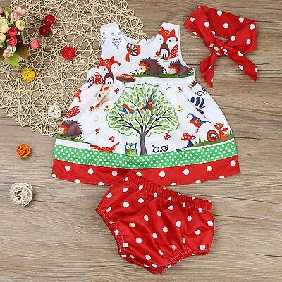 3PCS Toddler Kids Baby Girl Outfit Clothes Set Party Dress Sundress+ Short Pants