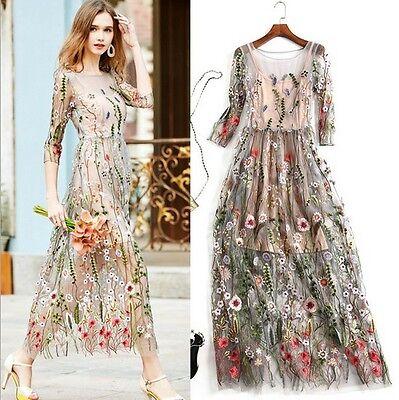 2017 occident embroidery makings fairy long lady dress wonderful M L XL XXL