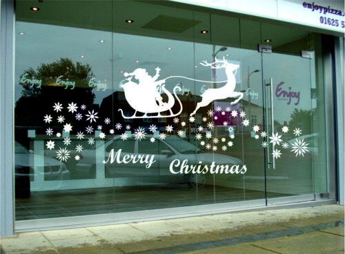 Tienda de invierno Ventana Pegatinas De Pared Feliz Navidad Santa Decoración de pared