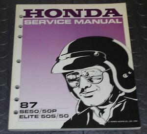 NOS OEM Honda Service Shop Manual NEW 87 SE50 / 50P ELITE 50S / 50