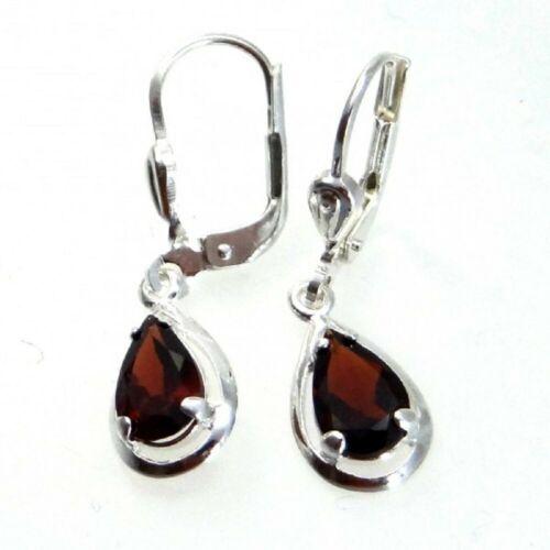 Silber Ohrringe Ohrhänger Brisur Tropfenform mit Granat echt