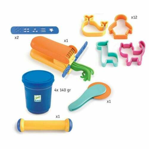 Djeco Play Dough Modelling Set Everything You Need To Start Cutters Rolling Pin