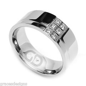 .24 Carat Natural Diamond Ring Stainless Steel 8mm Mens Wedding Engagement Band