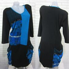 NEU DAMEN Tunika Kleid Bluse Longshirt Lagenlook Schwarz B  Gr. 50 (7027) SBY