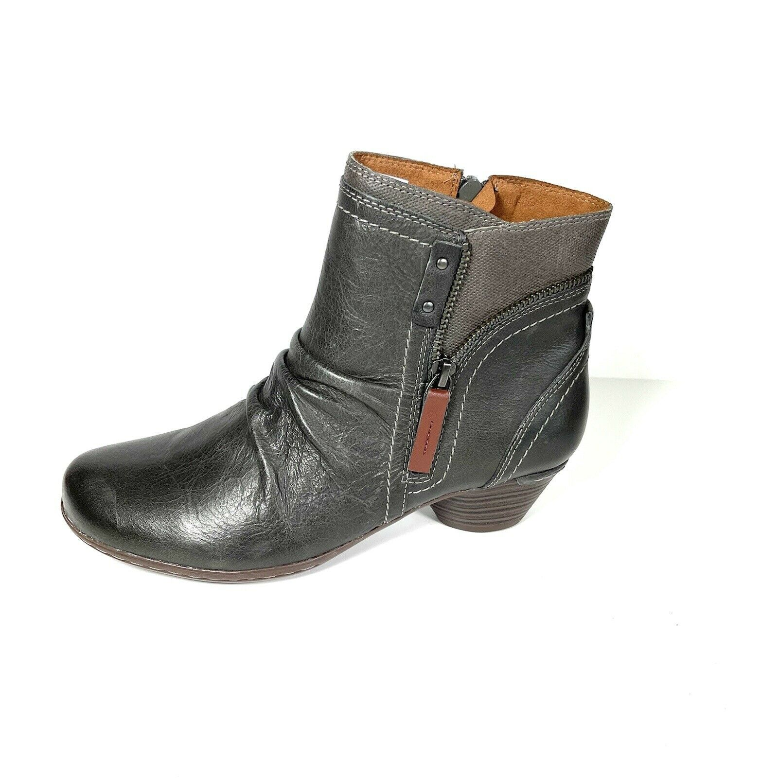 New Rockport Cobb Hill Womens Ankle Boots Black Leather Size 7