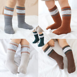 3-pairs-Socks-Baby-Kids-Winter-Warm-Min-calf-Length-Knee-HighsThick-Knit-Cotton