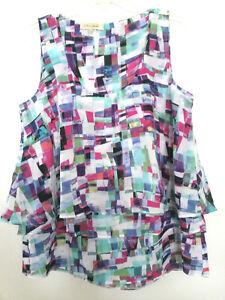 aece32d24c67f3 Image is loading DAVINA-Ruffle-MultiColor-Sleeveless-Shirt-Top-Womens-Sz-
