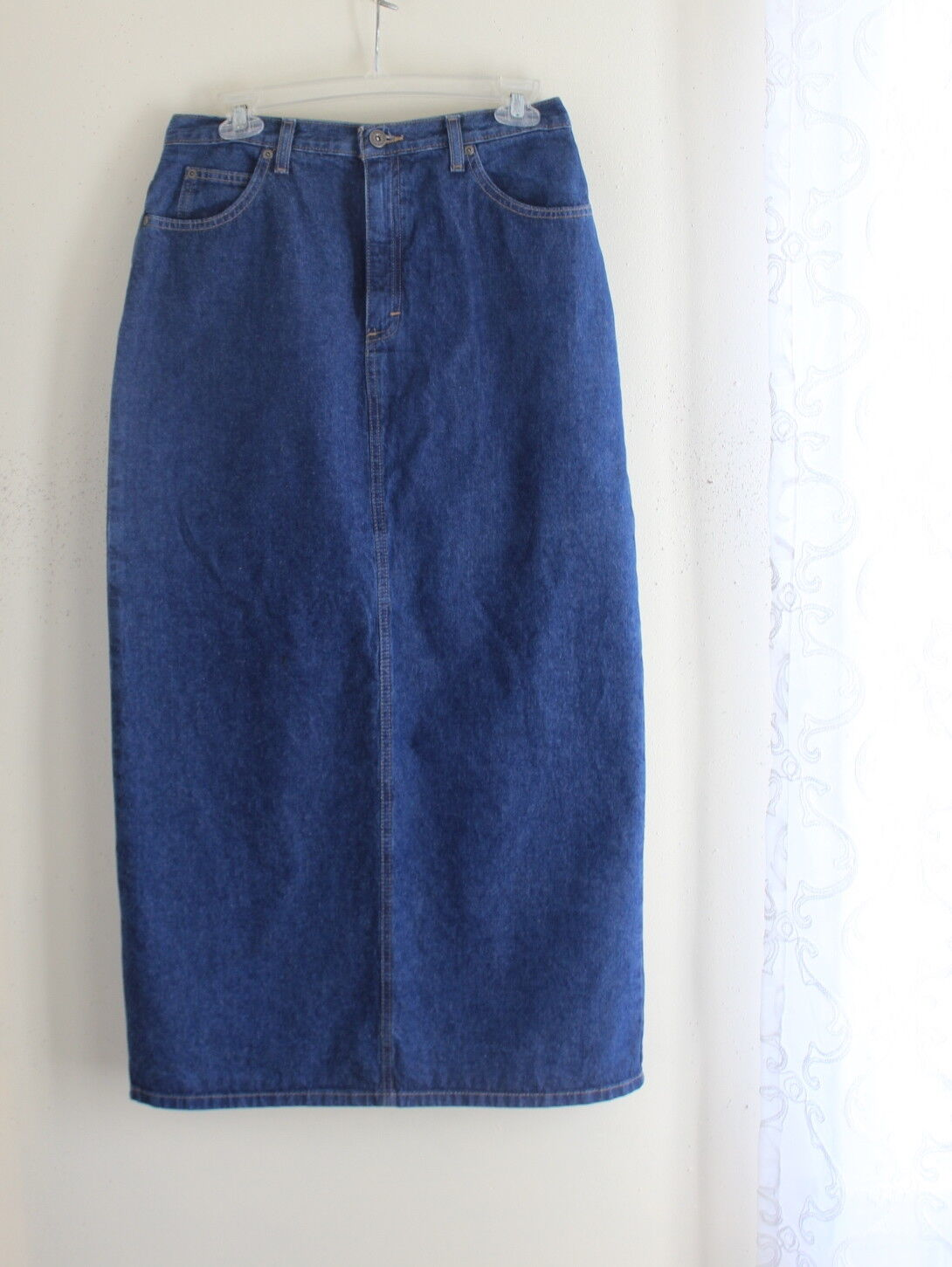 Liz Claiborne -Sz 10 Elegant Modest Denim Jean Straight Skirt - Mint Condition