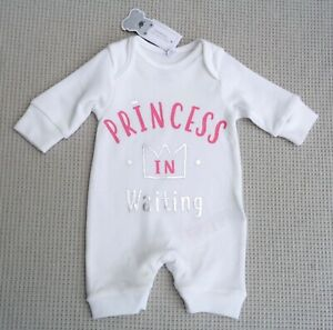 BNWTS-BLUEZOO-Baby-Girls-White-Princess-All-In-One-Babygrow-Tiny-Newborn-7lbs