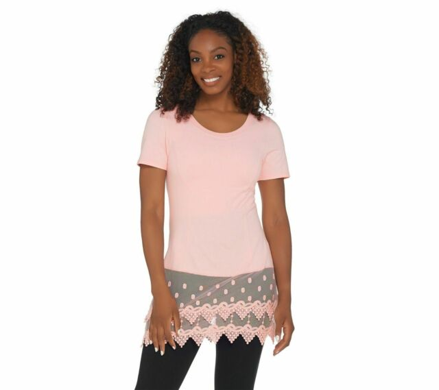 Kathleen Kirkwood Short Slv Top Lace Extender Sweet Pink L NEW A307345